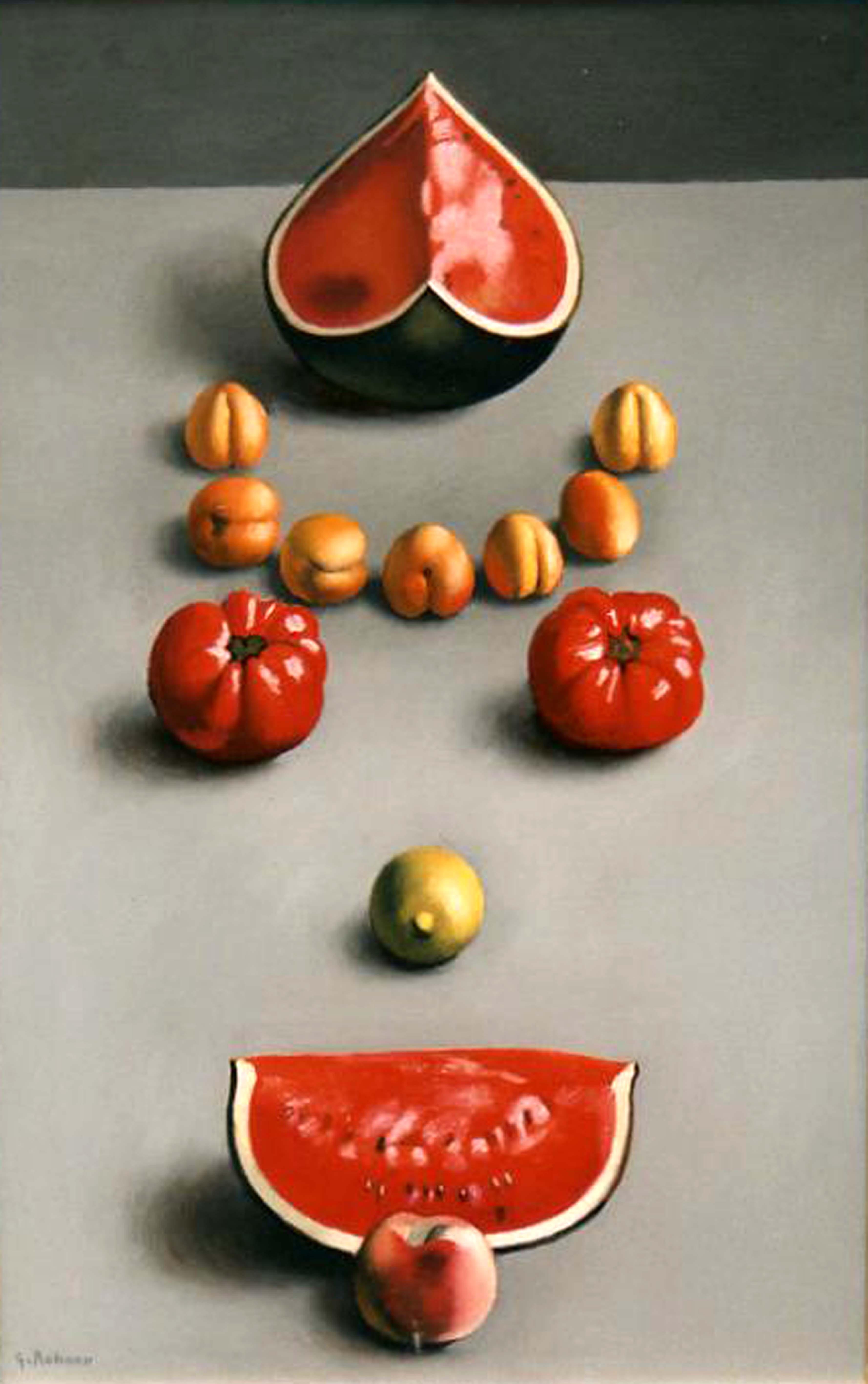 Pastèques, pêches et tomates