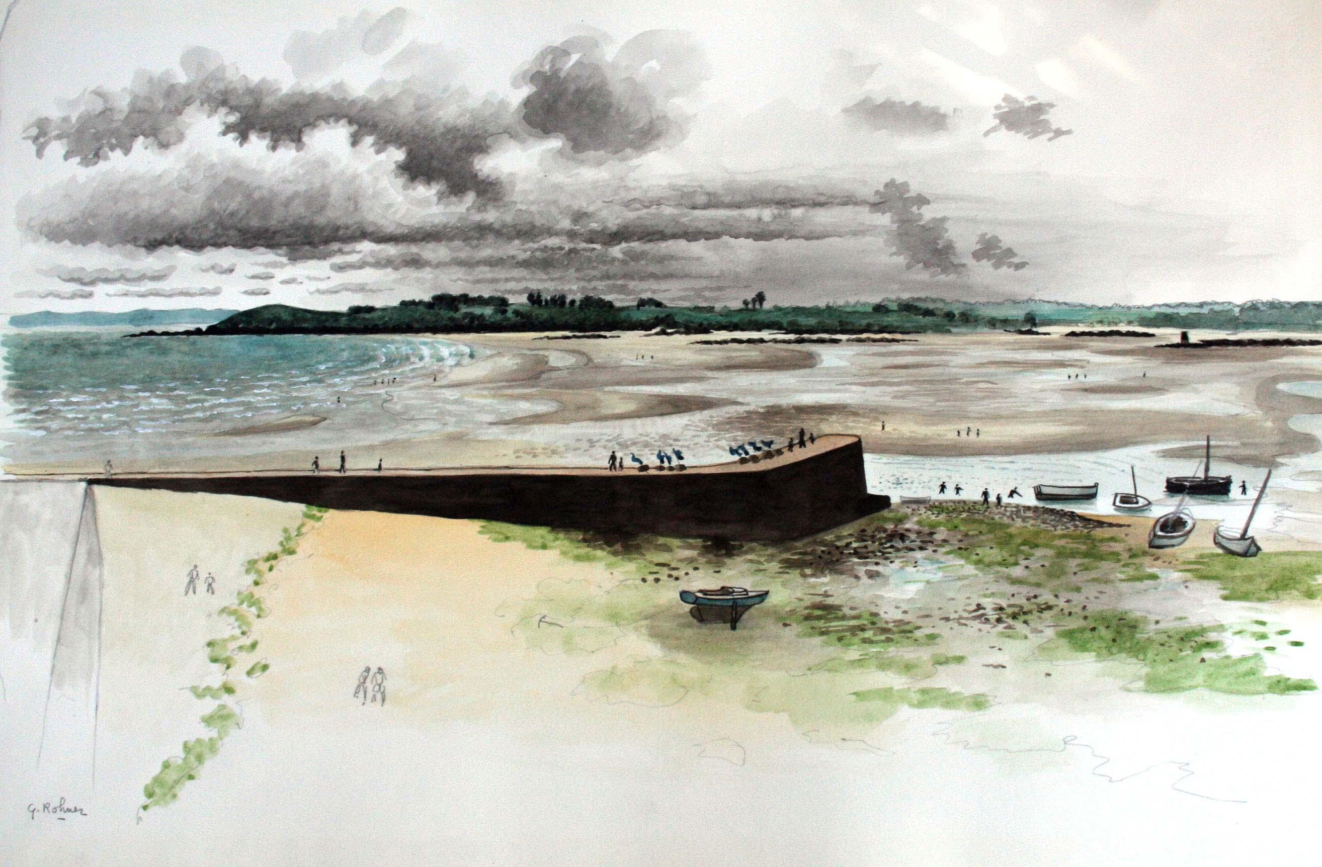 La baie et le port de Locquirec à marée basse-