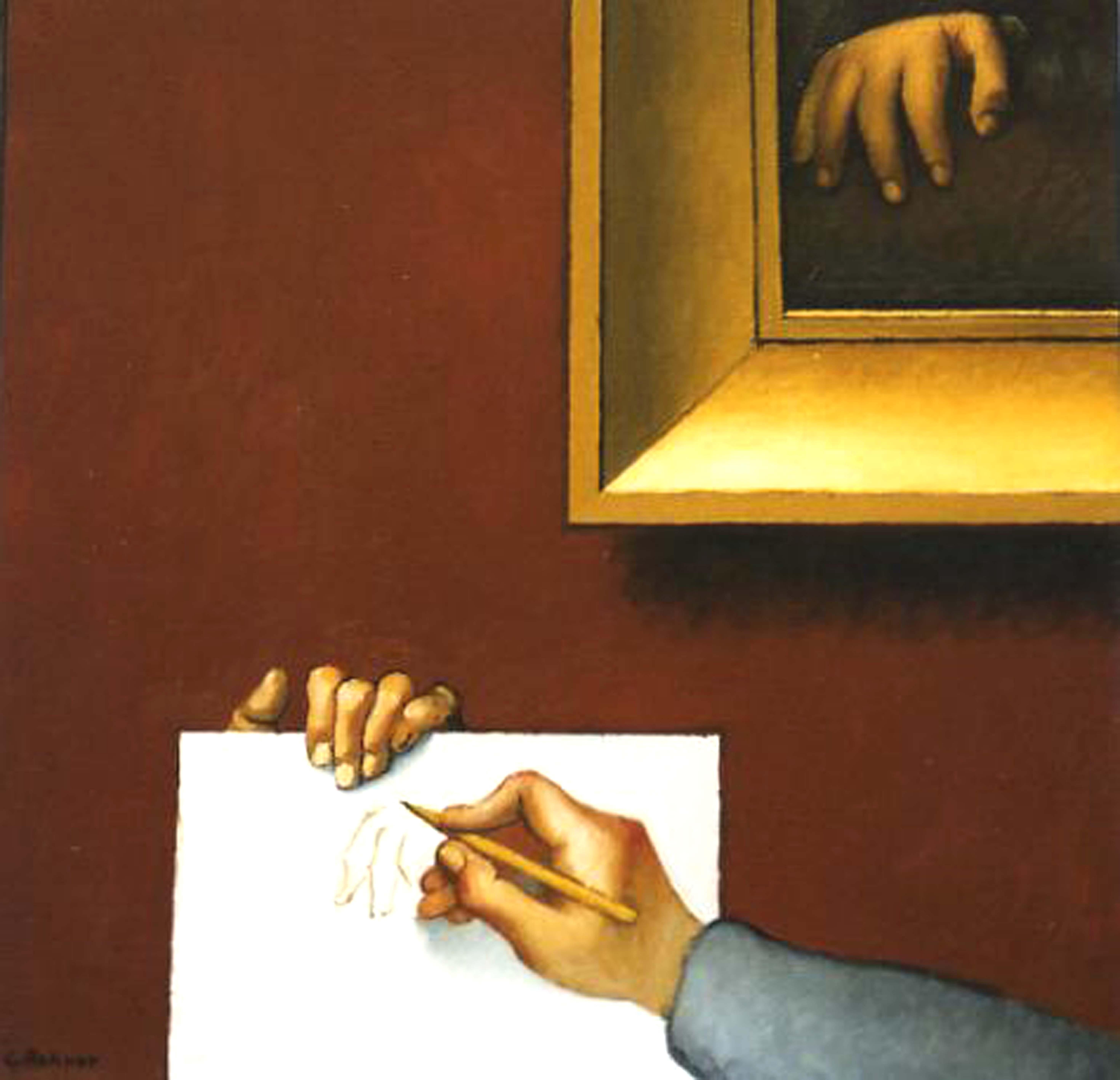 L'artiste dessinant la main de M. BERTIN