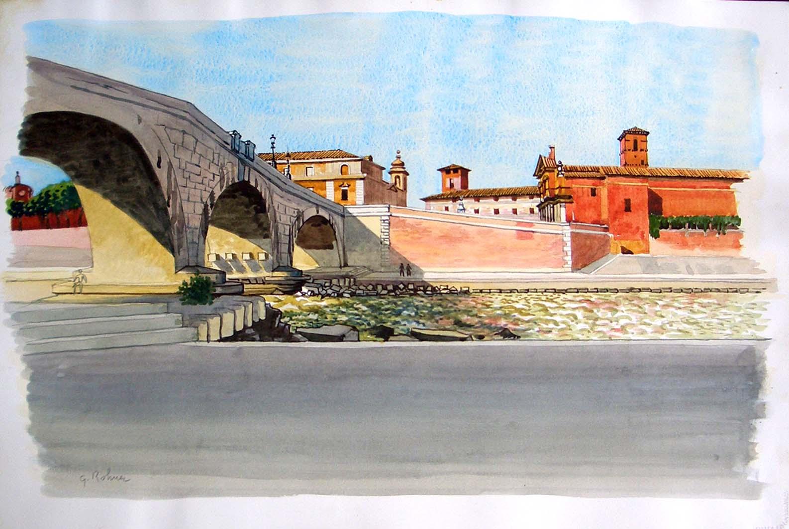 Rome, pont sur le Tibre  (Le Tibre et l'île Tibérine)