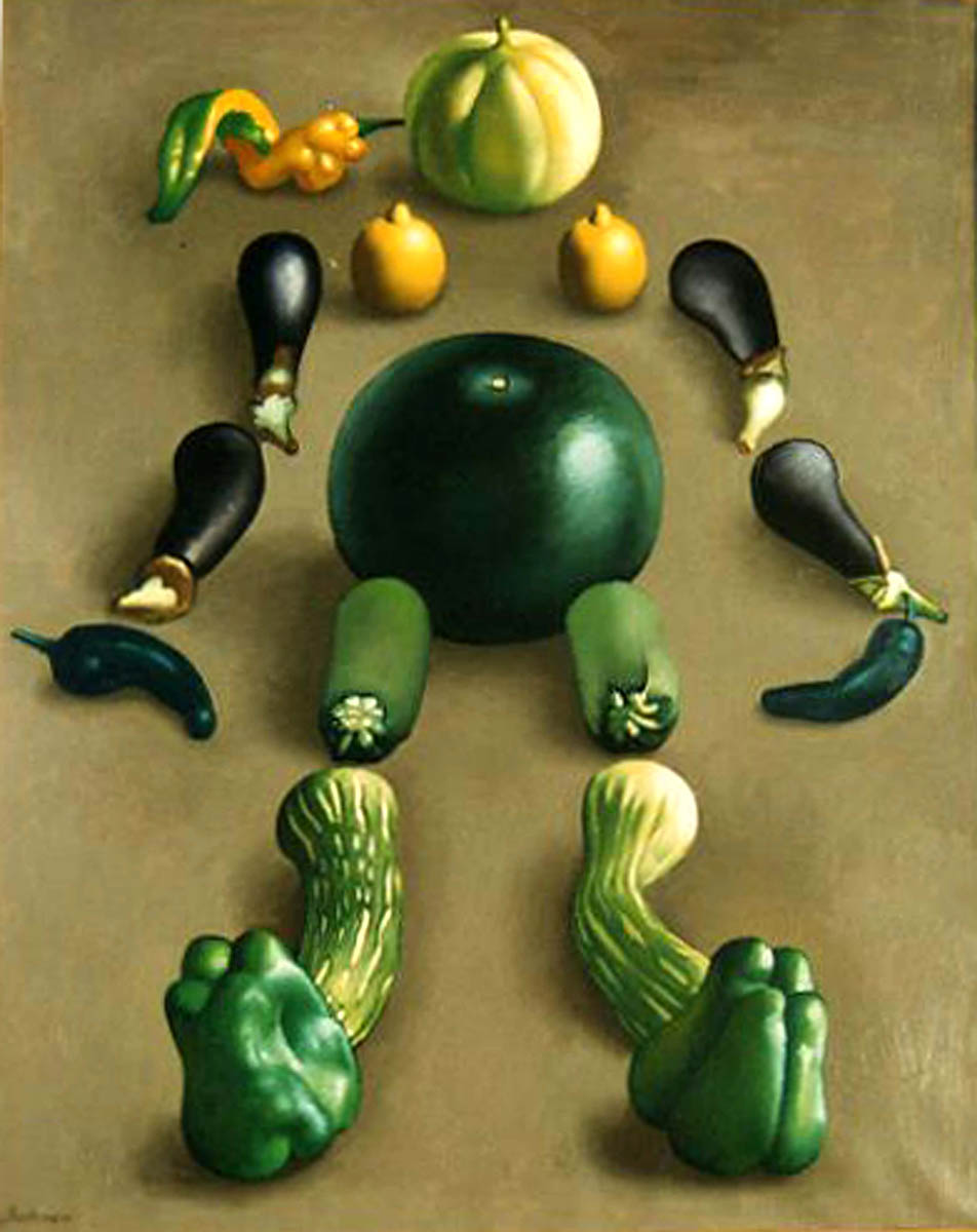 Nature morte au melon, pastèque, aubergines