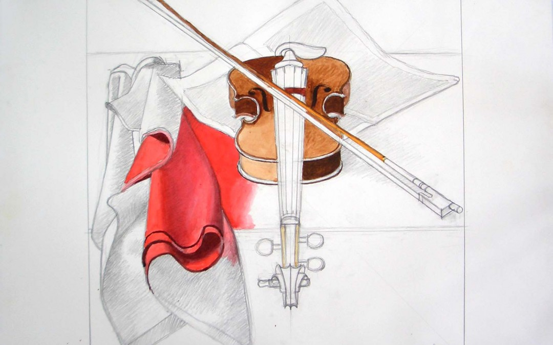 Violon et draperie rouge